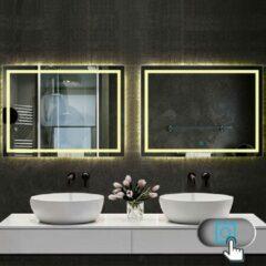 Aica Sanitair LED rechthoekige badkamerspiegel 90x60 cm,smalle licht banen rondom wandspiegel,enkele touch sensor schakelaar,warm wit,anti-condens