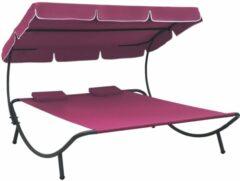 VidaXL Loungebed met luifel en kussens roze
