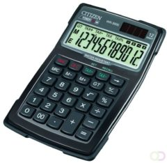 Bureaurekenmachine Citizen Office WR-3000 Zwart Aantal displayposities: 12 werkt op zonne-energie, werkt op batterijen (b x h x d) 106 x 38 x 152 mm