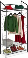 Zwarte Relaxdays kledingrek metaal - garderoberek - kledingroede - klerenrek - open kledingkast