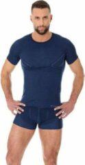 Brubeck | Heren Thermo Active Ondershirt met Merino Wol - Naadloos- T-Shirt -Marineblauw-XXL