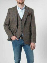 Groene Harris Tweed Enkel rij, 2 knoops met klepzakken en zijsplitten Harris Tweed jackets Heren Colbert Maat EU46