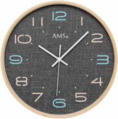 Grijze AMS 5513 Wandklok zendergestuurd hout 28 cm ø