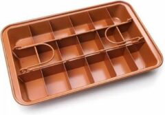 Bronze Brownie Bakvorm Metaal - 18 Brownies - Brownievorm - Rechthoekig - 31x20x4 cm - Antiaanbaklaag| Lobster Family