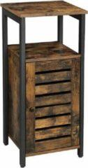 MIRA Home - Nachtkastje - Bijzettafel - Industrieel/Vintage - Woon/Slaapkamer - Bruin/Zwart - 81x30x30