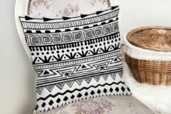 Zijou Moderne sierkussen met zwart-wit decoratief Afrikaans ontwerp - Kussens woonkamer - Binnen of Buiten decoratie sierkussens