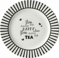 Witte Dutch Rose Gebakbord Happy Tea - Ø18cm
