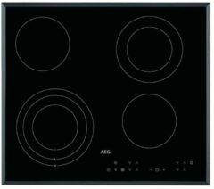 Zwarte AEG HK634030FB inbouw keramische kookplaat met Stop&Go warmhoudfunctie