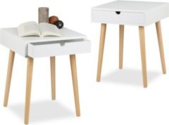 Relaxdays 2x Nachttisch Set ARVID Nachttisch mit Schublade Nachtschrank Holz weiß lackiert