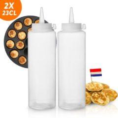 Witte Innovaland 2x Doseerfles 23cl - Knijpfles - Voor Beslag, Sauzen, Dressing - Beslagspuit - Garneerfles - Beslagfles - Doseerfles Poffertjes