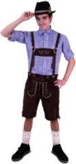 KIMU Korte lederhosen bruin echt leer - maat 58 XL - Oktoberfest suede Tiroler donkerbruine leren heren lederen broek Tirol lederhose bierfeest festival