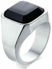 TrendFox Zegelring met Zwarte Steen   Zegelring Heren Zilver Kleurig   18 - 22mm   Ringen Mannen   Ring Heren   Ring Mannen   Heren Ring   Cadeau voor Man   Mannen Cadeautjes   Sinterklaas Cadeau   Sinterklaas Cadeautjes