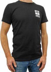 LOUD AND CLEAR T Shirt Heren Zwart Wit - Ronde Hals - Korte Mouw - Met Print - Met Opdruk - Maat S