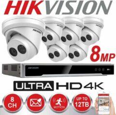 HIKVISION 8MP Systeem 8-kanaals NVR 4K UHD IP POE 8 MP Megapixel CCTV 6 x 2,8 mm Turret Camera Digital Network Kit Outdoor Night Vision 6 TB HDD