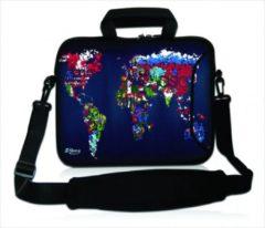 Blauwe False Sleevy 17,3 laptoptas artistieke wereldkaart - laptophoes voorvak - laptop sleeve - smalle laptoptas - reistas - schoudertas - schooltas - heren dames tas - tas laptop
