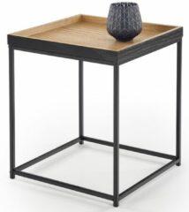 Home Style Bijzettafel Yava 42x49x42 cm breed in natuurlijk eiken met zwart