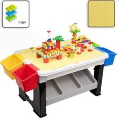 Decopatent® - Speeltafel met bouwplaat (geschikt voor Lego® blokken) en vlakke kant. Kindertafel met 7 Opbergbakken - Bouwtafel