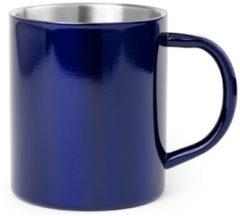 Shoppartners 1x Drinkbeker/mok blauw 280 ml - RVS - Blauwe mokken/bekers voor onbijt en lunch