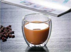 Transparante Merkloos / Sans marque Dubbelwandige Geïsoleerde glazen voor drank, thee en koffie 2 x 250 ml