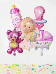 PeXtras Ballonnen set - Baby - Dochter - Meisje - Roze - Babygirl - 7-delig