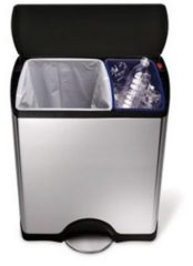 Pedaalemmer Rectangular Recycler Classic met kunststof deksel 30 + 16 ltr Simplehuman, RVS / zwart