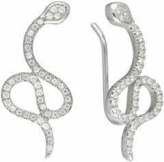 Classics&More Lovenotes oorbellen - earcuffs - oorklimmer - zilver - gerodineerd - slang - zirkonia