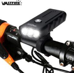 VastFire BX3 LED Fiets Koplamp - 3x CREE T6 - interne accu - Oplaadbaar - 1500 lumen - Zwart