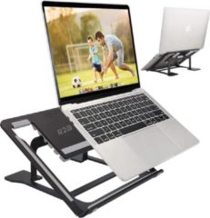 R2B Laptop standaard verstelbaar en opvouwbaar voor laptops en tablets - Zwart - Laptop plateau - 10-16 inch - Ergonomische werkhouding - Lichtgewicht laptop / tablet steun opvouwbare stand - laptop verhoger - Apple Macbook Pro, iPad, Microsoft, Windows