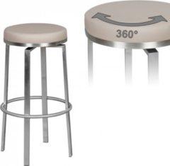 Wohnling Durable M8 Barhocker Edelstahl taupe Barstuhl modern Tresenhocker mit Beinen Design Hocker drehbar