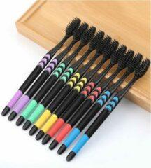 Pippashop 10 stuks tandenborstel zwart met kleuren