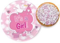 Roze Ootje Kadootje Geboorte Meisjes Bordjes It's a Girl 18cm - 8 stuks