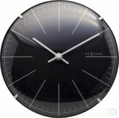 Zwarte NeXtime Big Stripe Mini Dome - Tafelklok / Wandklok - Rond - Gebold Glas en Kunststof - Stil uurwerk - Ø 20 cm- Zwart