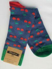 Rode Moustard london Sokken maat 41/46 met kersen print