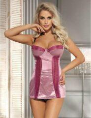 Stijlvol Sexy Kort roze satijnen nachtjurkje met kant | Maat 40 | Sexy nachtmode