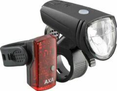 Groene AXA LED Verlichtingsset V+A Greenline Fietsverlichting - USB Oplaadbaar - 15 Lux - Zwart