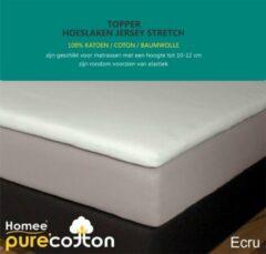 Creme witte Homee Homéé® Topper Hoeslaken Jersey Stretch 160g.m2 - ecru - 180x200/210/220-10+20cm