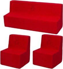 Go Go Momi Zachte Foam meubels borduurwerk set: 2xbank + Bank voor kinderen, kinderen, comfortabel, ontspannen - Rode
