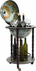 Porfuno Drankbar wereldbol - barwagen - massief houten - bar op wielen - 16e eeuwse stijl - Italiaans design - hout - Wereldbol bar - wijnrek - tafel - mobiele bartafel - uniek - minibar - Donkerbruin - Zeeblauw