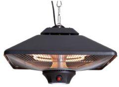 Zwarte Sunred Spica Square Hangende Terrasheater CE17SQ-B Black met LED