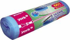 Blauwe York Afvalzakken met aantreklint / 60 L. / 5 rollen = 50 zakken