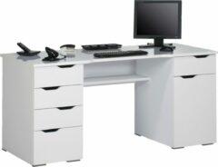 Bermeo Bureau Kaya 160 cm breed in hoogglans wit met wit