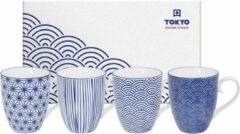 Blauwe Tokyo Design Studio - Nippon Blue - Set van 4 Mokken 380 ml - Verpakt in Luxe Geschenkdoos
