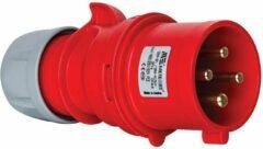 Mete - CEE male 4 polig 6H 32A IP44 kracht - rood - stekker 380-415VAC