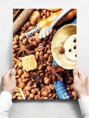 Witte Creatief Art Wandbord: Oosterse Kruiden met koffiebonen en shisha - 30 x 42 cm