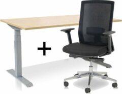 Lineaflex MRC Zit-sta bureau elektrisch verstelbaar + ERGO Bureaustoel | ARBO PRO Thuiswerkset | frame bureau aluminium - bureaublad wild peren | 120x80 cm