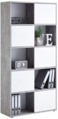 FD Furniture Boekenkast Ruta 2 van 182 cm hoog in grijs beton met hoogglans wit
