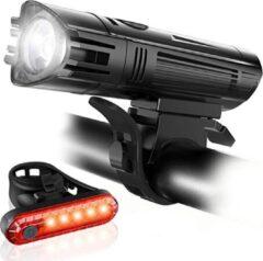 Zwarte FIEZIO Fietsverlichting - USB Oplaadbaar LED Fietslampen – Waterdicht