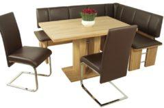 Dining-Gruppe 5-teilig 'Kairo' Möbel-Direkt-Online kernbuche / Bezug: Lederimitat moccafarben