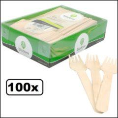 Bruine Thema party 100x Houten vorken duurzaam hout