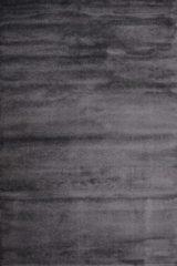 Antraciet-grijze Impression Rugs Enjoy Effen Velvet Vloerkleed Antraciet Laagpolig - 80x150 CM